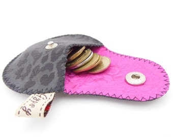 Leopard Print Black and Grey Leather Coin Purse / Mini Gypsy Coin Purse / Leather and Vietnamese Silk