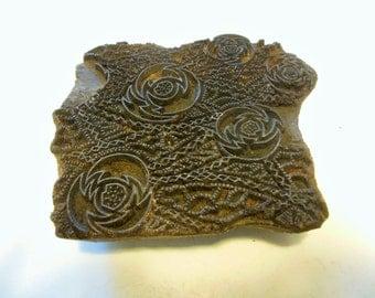 Rose Motif Hand Carved Wood Print Block / Primitive