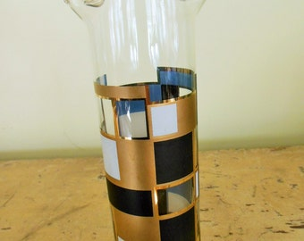 Vintage Cocktail Hour Glass Pitcher & Stirrer,Abstract black gold white geometric design.