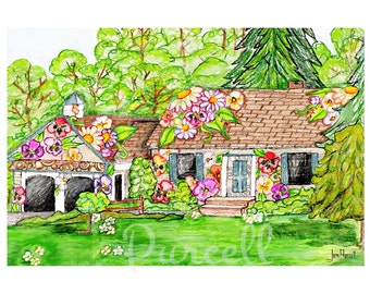 Home Portait 8 x 10 Double Matted Personalized Drawing of your Home- Decorated Custom Floral House Portrait-Example Image