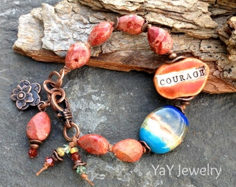 Courage Sweet Sentiments Bracelets, Word Bracelet, Word Jewelry, Fossil Coral, Spiritual Jewelry, Knotted Jewelry, Boho Chic by YaY Jewelry