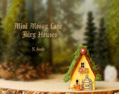 MINI Fairy House of Mossy Lane - Handcrafted N Scale Woodland Fairy Cottage in Pale Yellow with Mossy Roof, Flower Boxes and Wooden Door