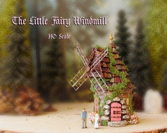 Little Fairy Windmill - Miniature Handcrafted Round House with Moss, Colorful Tiled Roof, Wooden Door and Blooming Flower Box - HO Scale