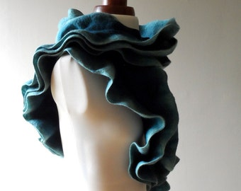 Blue Felted Collar - Ruffled - Neck Ruff