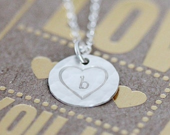 Sterling Silver Heart Necklace Personalized, Dainty Disc Initial Necklace, Hand Stamped, Hammered