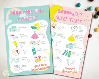 girls morning and evening daily chore checklists