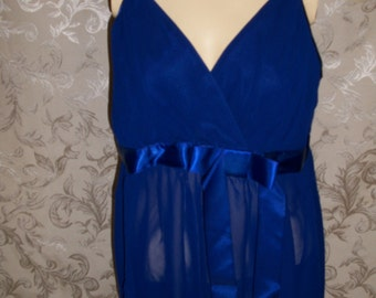 Frederick's of Hollywood Blue Chiffon Babydoll Nighty with matching Thong Panty Size 1X