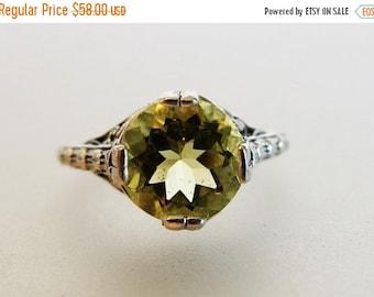 ON SALE Beautiful Deco Style Lemon Citrine Sterling Filigree Ring
