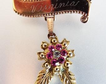 Cute Vintage Brass & Glass Mono Virginia Brooch Pin