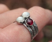 January Birthstone Jewelry Garnet Ring Sterling Silver Stacking Ring - Garnet Size 8 Ready to Ship