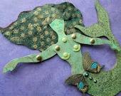 Mermaid paper doll - handmade articulated art doll by JuliaPeculiar