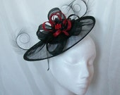 Black Sinamay Saucer Curl Feather and Scarlet Red Loop & Rhinestone Cecily Fascinator Hat - Custom Made to Order