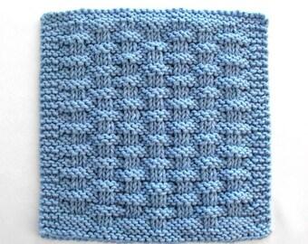 Knit Dishcloth, Cotton Washcloth, Face Cloth, Blue Basketweave Dishcloth