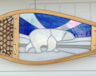 Polar Bear Stained Glass Snowshoe