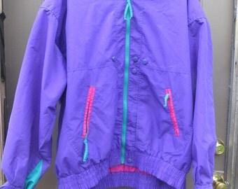 vtg  Cabin Creek Windbreaker /windbreaker  Nylon Jacket // Parachute Jacket  // Neon block pattern  Colors  xlarge