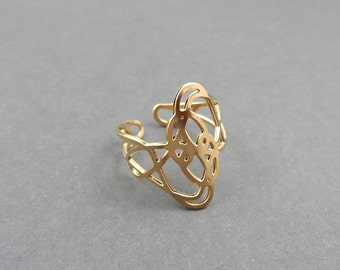Twisted Ring, sketch jewelry, adjustable ring, gold ring