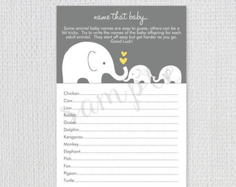 Twin Baby Shower Game Card / Name That Baby Game / Grey and Yellow Little Peanut / Instant Download / PRINTABLE / 32805