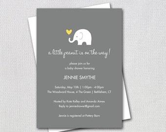 Elephant Baby Shower Invitation / Little Peanut Elephant Yellow and Grey / Gender Neutral Design / PRINTABLE  INVITATION / #32806