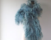 Felt Fur Curly scarf, Blue Grey fur collar Hand Felted scarf, Pure Real Fur Fleece Christmas gift for her Organic and Cruelty Free
