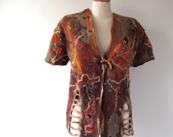 Women Felted vest  Warm Wool  jacket seamless Brown mustard jasket wool women vest  felt vest autumn winter vest by Galafilc