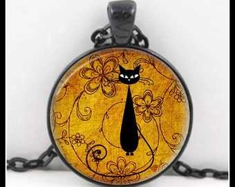Black Cat, Black Cat Pendant, Black Cat Necklace, Black Cat Jewelry, Glass Necklace - P-BC-8