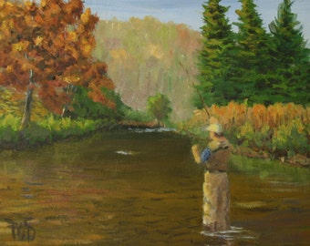 "Fly Fishing Art, small oil painting, trout fishing, autumn landscape, 6""x8"""