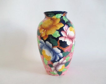 Antique Maling Vase Peona Rose Hand Painted
