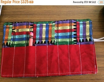 Sale Christmas in July Crayon Roll up crayon fabric