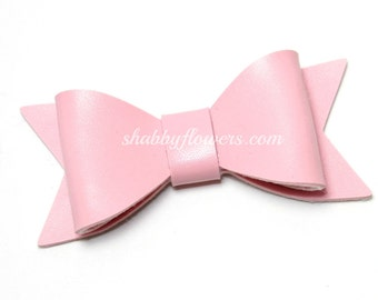 Faux Leather Bow in LIGHT PINK, Leather Bow, Hair Bow, Headband Bow