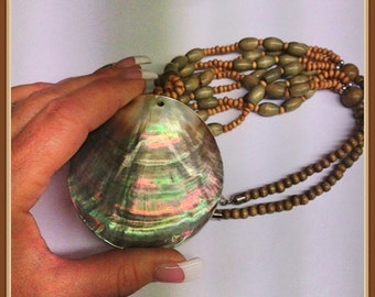 Vintage Abalone Sea Shell Necklace, Wooden Beads,  Paua, Rainbow,  1980's