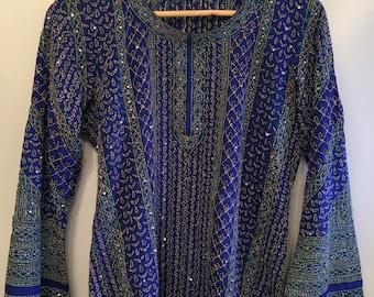 Rare Blue Silk Bohemian Indian Tunic • Hand Stitched Indian Tunic • Vintage Tunic Top • Bohemian Top • Boho Tunic • Indian Hippie Top