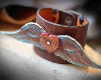Wings of Glory Leather Cuff Bracelet