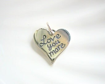 Sterling Silver Love You More Heart Charm - Add On