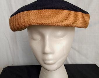 Vintage 1940s High Style Designer Raffia Pancake Beret Hat by Dajon