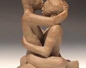 The lovers, ceramic art figure sculpture, erotic figurines, mature spiritual altar piece