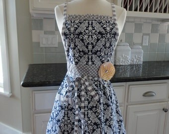 "Navy Swirl and Gray Dot-  ""Barbie Style Pockets & More""  Women's Apron - 4RetroSisters"