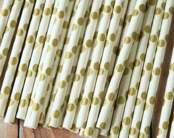 Metallic GOLD Big Dots paper straws