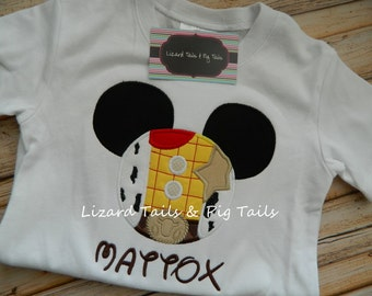 Mickey Woody Shirt - Boys Woody Applique Shirt - Disney Vacation Shirt - Woody - Toy Story