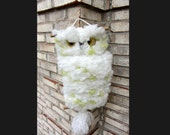 SALE! Vintage Fuzzy MACRAME OWL on Tree Perch Wall Hanging Eyes Staring White & Green Polkadots Retro Groovy Hoot!
