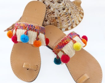 Sandals made of Leather & Colourful Pon Pon in Boho Style(with a secret)
