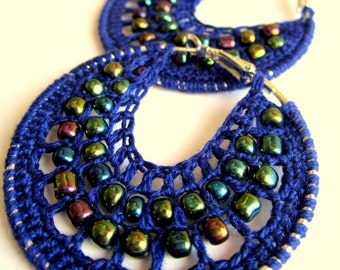 Crocheted hoops with beads in blue