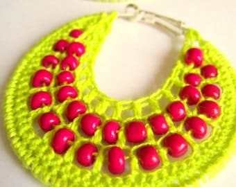 Crocheted hoops with beads in lime yellow