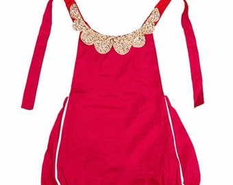 READY TO SHIP Red with Gold Jeweled Collar Romper Christmas and Infant Toddler Girls First Birthday Photo Prop Outfit