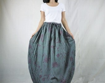Tulip Skirt - Floral Printed Charcoal Grey Tulip Shape Maxi Skirt With 2 Pockets