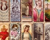 Religious Art 1x3 Instant Download digital collage sheet Catholic Saint Jesus virgin Mary printable n091