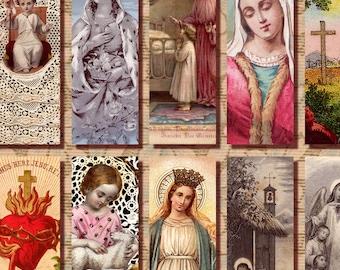 Religious Art 1x3 Instant Download digital collage sheet Catholic Saint Jesus virgin Mary printable n091