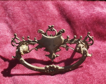 Antique Drawer Pull, Handle, Ornate Rococo or Victorian Styling, No 750