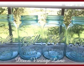 4 Blue Ball Mason Jars Quart Size Vintage Jars for Flower Vases, Candles, Wedding Decor