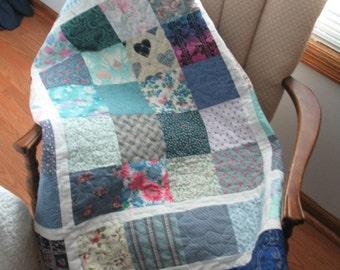 Quilted Patchwork Blue Squares Lap Quilt