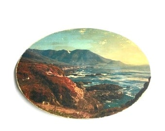 """Highway 1 Vista - 5x7"""" Oval Distressed Photo Transfer on Wood"""